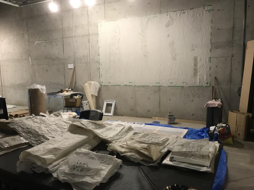 Booth #21, Keiko Miyamori's workspace. Taken in early May, 2019.
