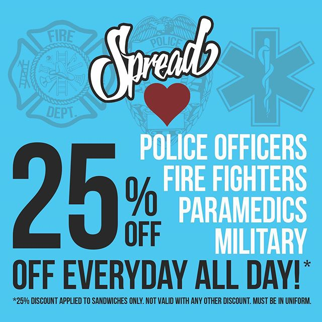 Now offering all On-Duty firefighters, police officers, paramedics, and military 25% off their sandwiches All Day - Everyday! Thanks for everything you do for our cities and communities! #spreaddeli #dipsomania
