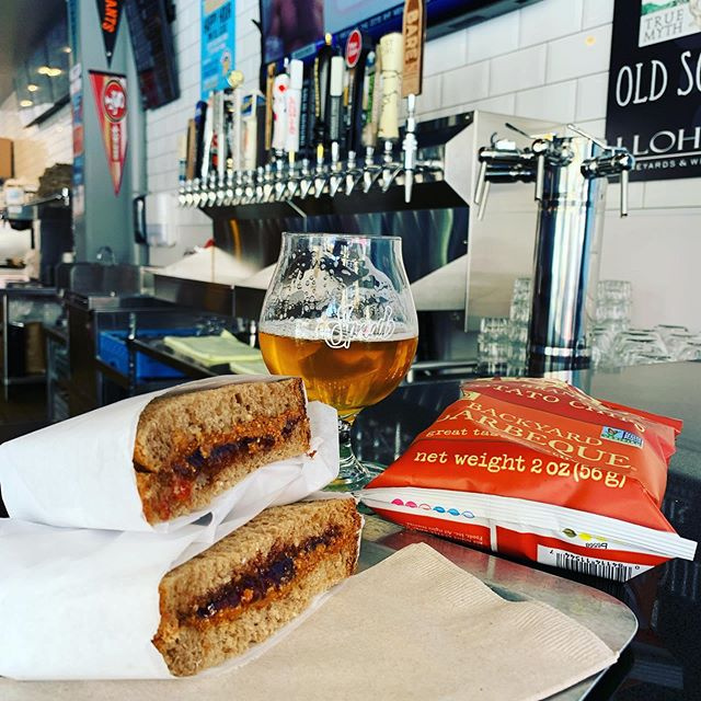 Sometimes the simple things in life are the best! PB&J, @kettlebrand BBQ chips, washed down by @russianriverbrewingofficial Pliny. #spreaddeli #spreadsanjose #spreadcampbell #dipsomania #DTSJ #downtowncampbell