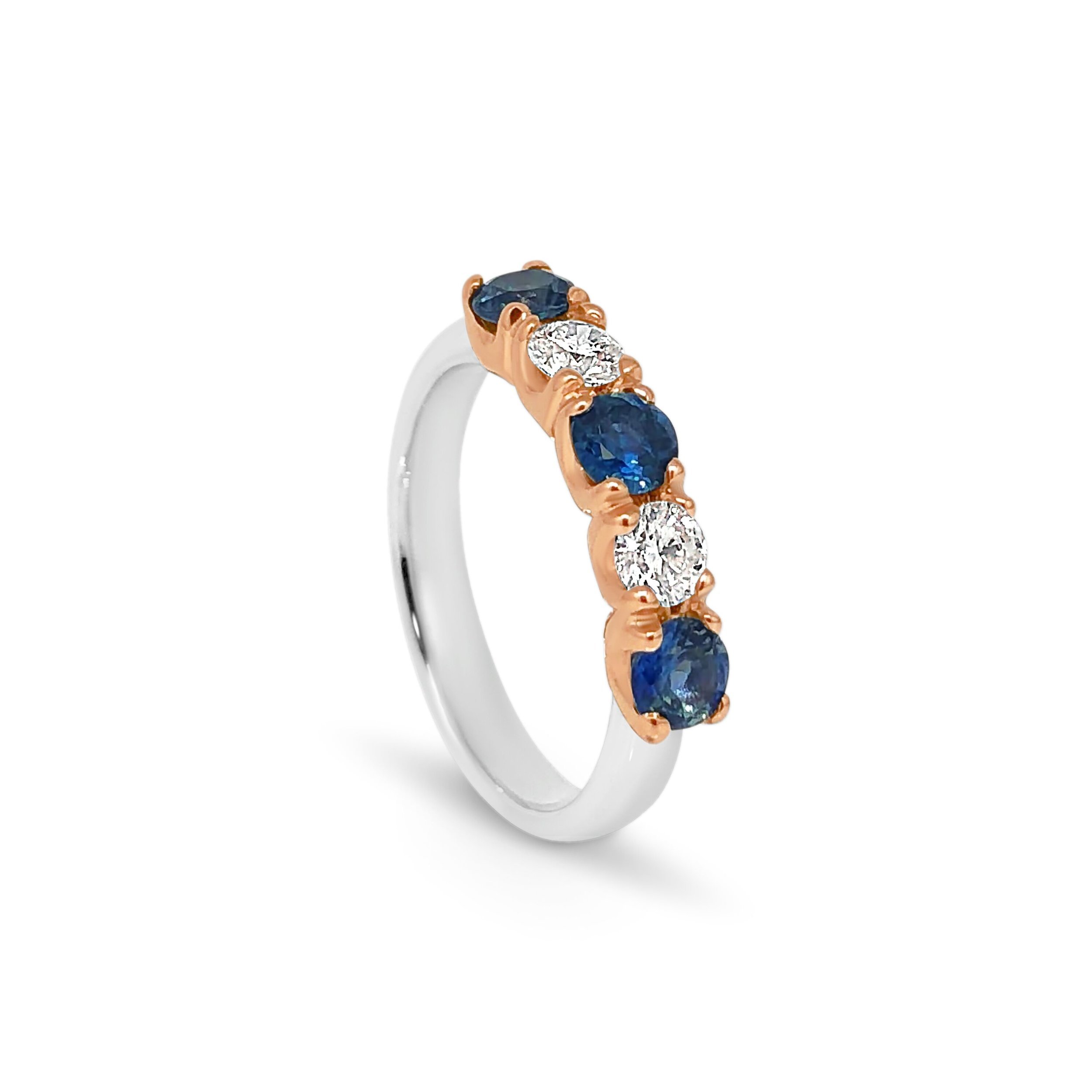 18ct rose gold and platinum,  Australian sapphires and diamonds, round, claw setting.jpeg