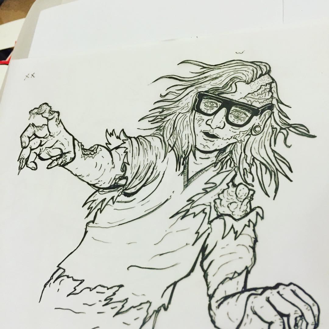 #tbt that time I had to draw a zombie #skrillex 😹😹 (at Se1 Mooooooondance)