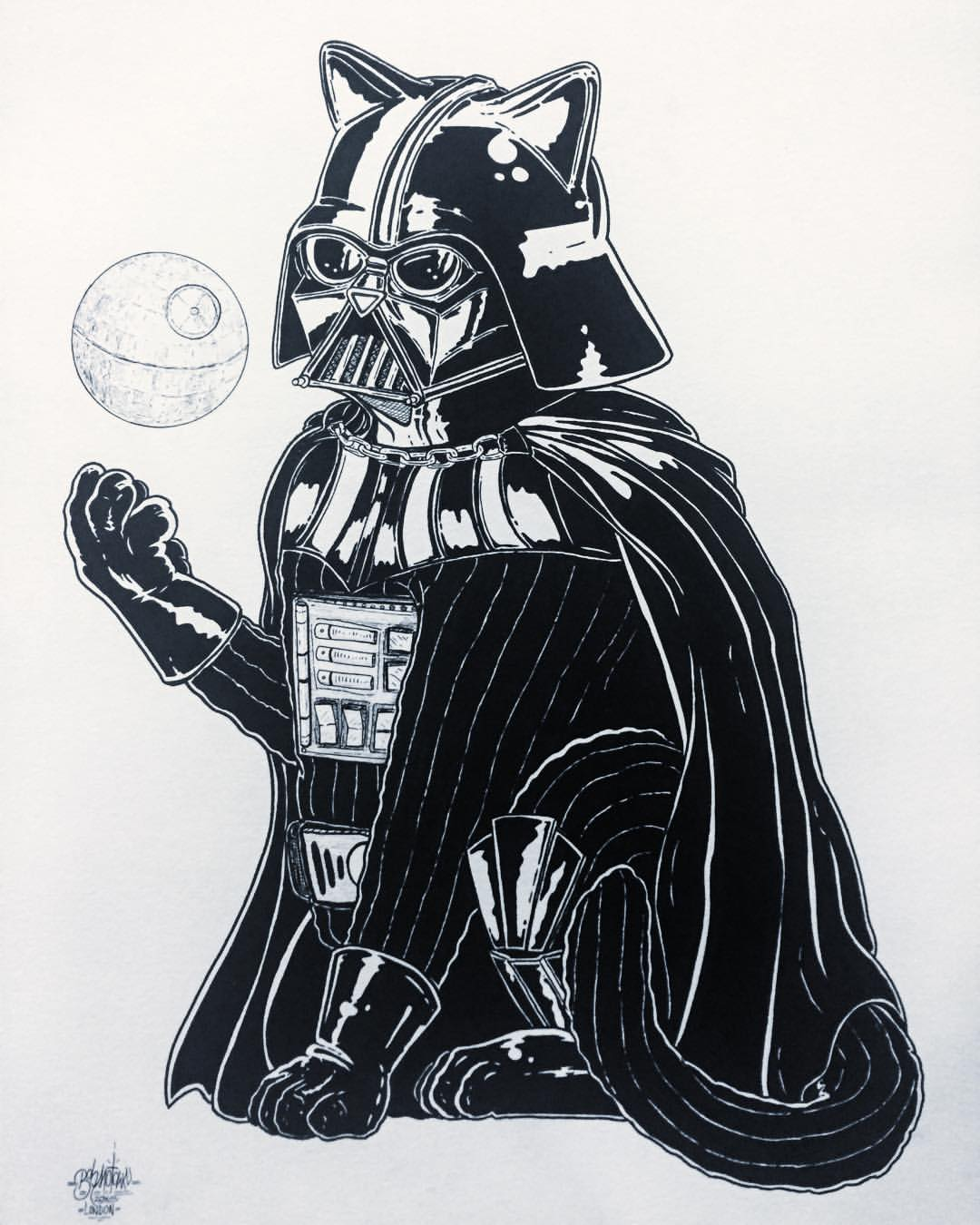 CATakin Skywalker. Darth VadeFUR. ink on expensive feeling watercolour paper. 50 x 70 cm (metric is cool now, deal with it 😎). 2015.