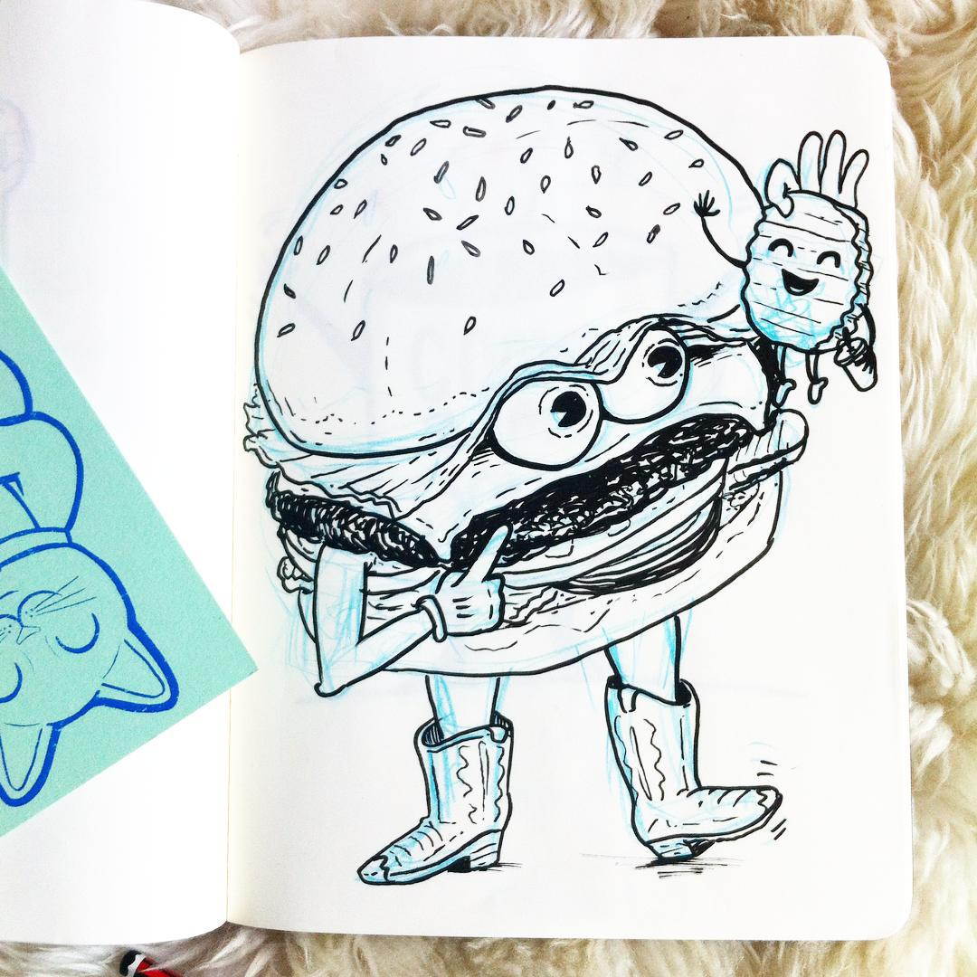 Sometimes you don't draw in your sketchbook… It draws in you… (at burger boy basement hideout)