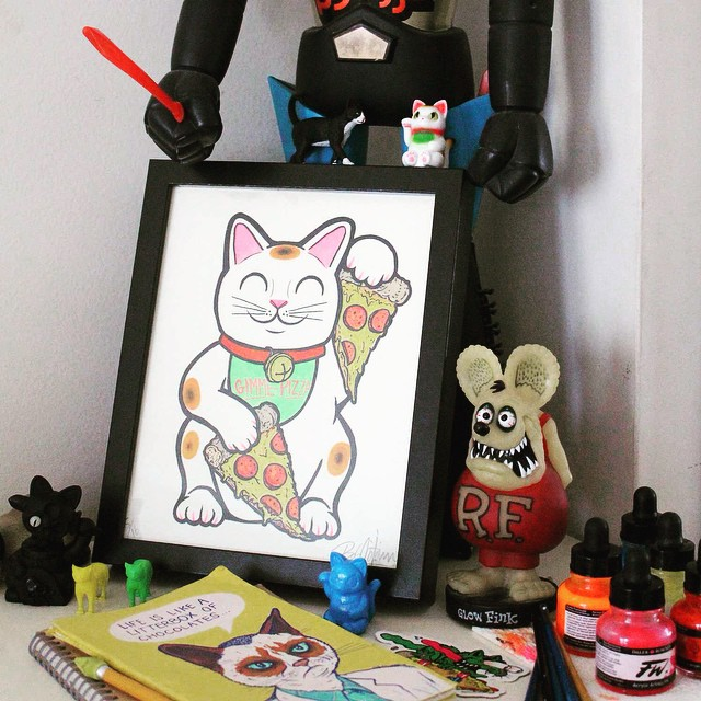 AVAILABLE NOW! *Link In Bio*  Lucky Pizza Cat prints are on sale NOW! Each one is one of kind hand painted screenprint. You can get lucky for just $30!   For a limited time they are available FRAMED!  (at  www.Shop.BobMotown.com )