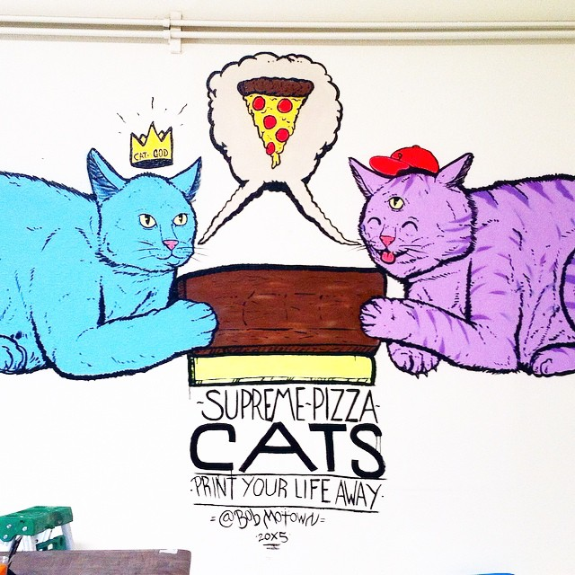 Just freestyled these guys. Big ups to my brothers of the paw and fellow squeegee jockeys @catgods @supremepizzacats1 @squidinkkollective #printyourlifeaway
