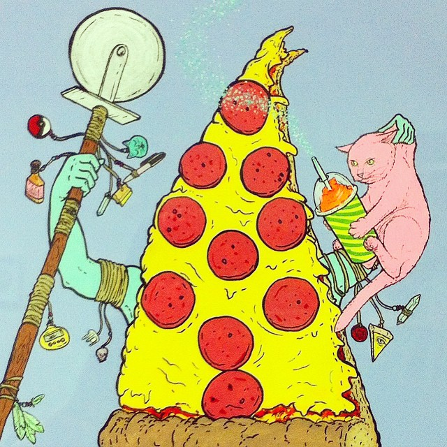 Pizza Shaman detail. #CATSPLOSION #occult #pizza