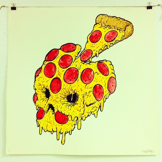 Death by pizza. Hand colored screen prints. Cuz why the fuck not. #CATSPLOSION  (at Industry Print Shop)