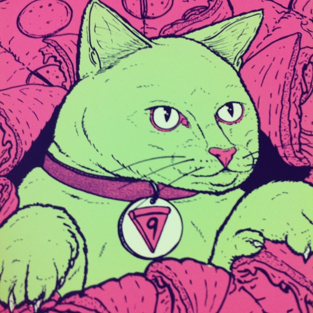 SURPRISE!! #catsplosion is going down @industryprintshop tomorrow night in AUSTIN TEXAS! Come down for pizza, beer and aaaaalll the arts! Seriously awesome new stuff from @squidinkkollective and meeeee!!
