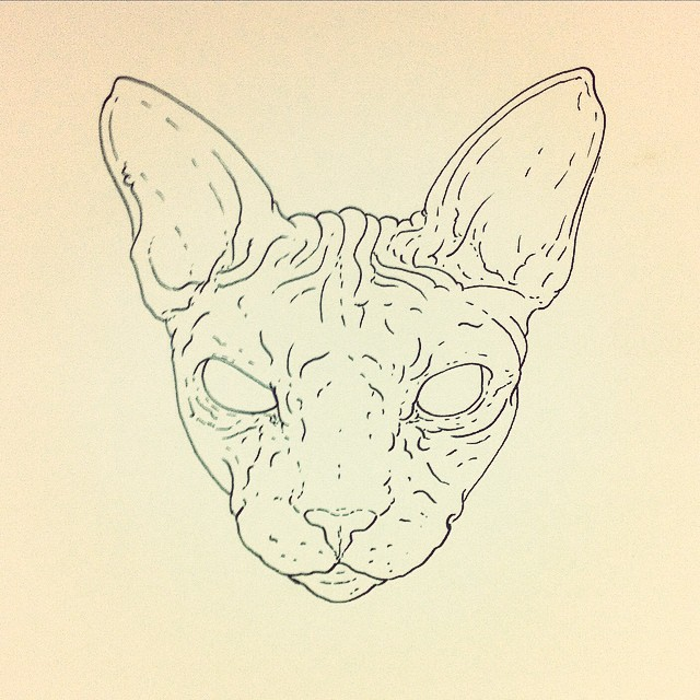 Another day, another wrinkly old man cat. #sphynx are for sure one of my favorite things to draw… Next to boobs & butts. 😋😎