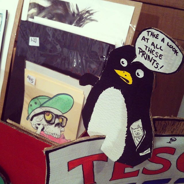 These penguins turned up to lend a hand. #LIF2014 @penpusherslive #penpusherslive (at Arch402 Gallery, London)