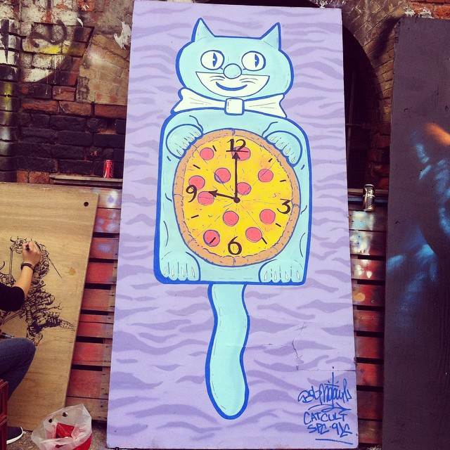 Painted this lil guy today. #supremepizzacats (at Brick Lane Market)