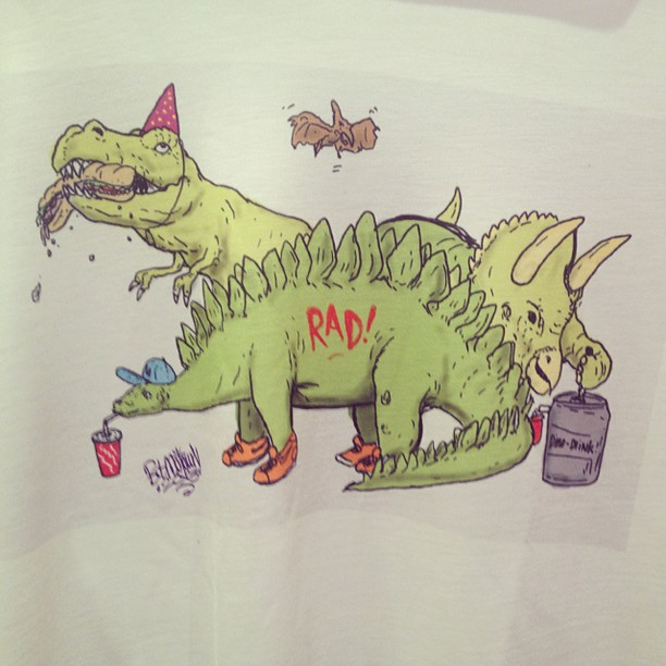 I drew this on a #Samsung #galaxynote3 then had it made into a shirt at @yrstore_ldn yesterday. Technology is amaze balls. #dinosaurparty  (at samsung galaxy shoreditch studio)