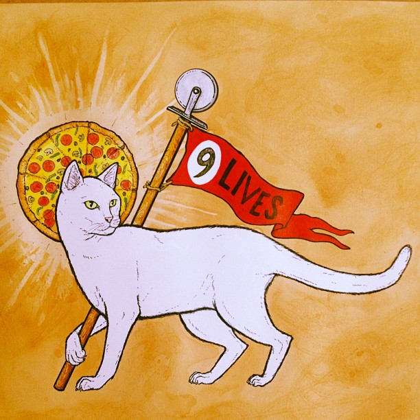 #SupremePizzaCats #BrotherhoodOfTheNineLives. For the show next month in Austin TX at HI5H gallery.