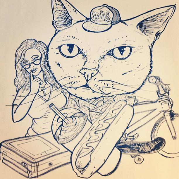 Sketch I'm playing around with. #wip #drawing #coolshit #giantcathead #jdiks #gameboy #slurpee #bmx #nachos #skateboard
