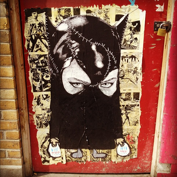 Cat woman burka #streetart. In an area with quite a lot of Muslims and a big tescos. I lol'd.  (Taken with  Instagram  at Bethnal Green Road)