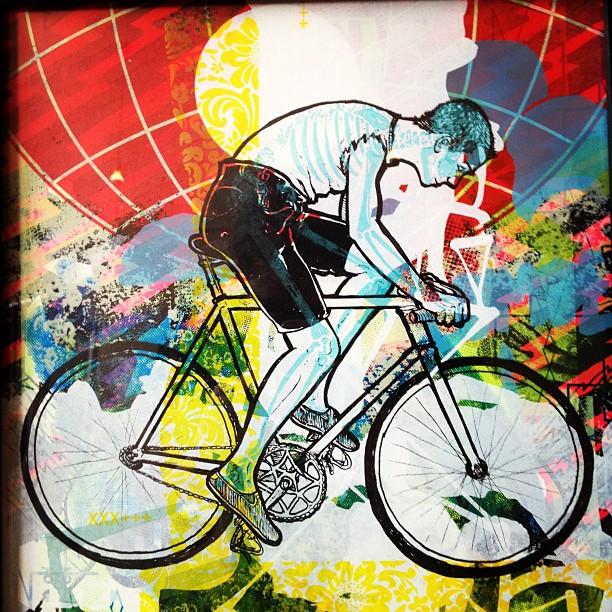 Old mono print. #fixiefamous #printyourlifeaway #screenprint #bike (Taken with  Instagram )