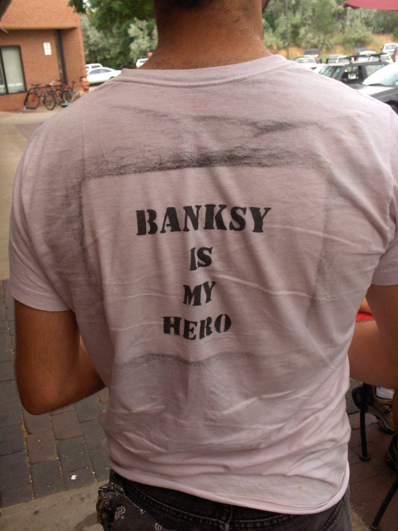 I saw this in real life… Before banksy was huge… in Boulder, Colorado. True Fanboyism