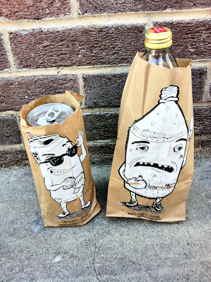 Once upon a time I made a couple of brown bag buddies… I wish I still had some of these!   2color screen prints on brown bags. We made like 1000 of these guys!