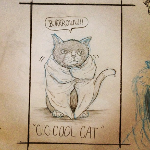 Cool cat! #kitty #cat #drawing #burr (Taken with  Instagram )