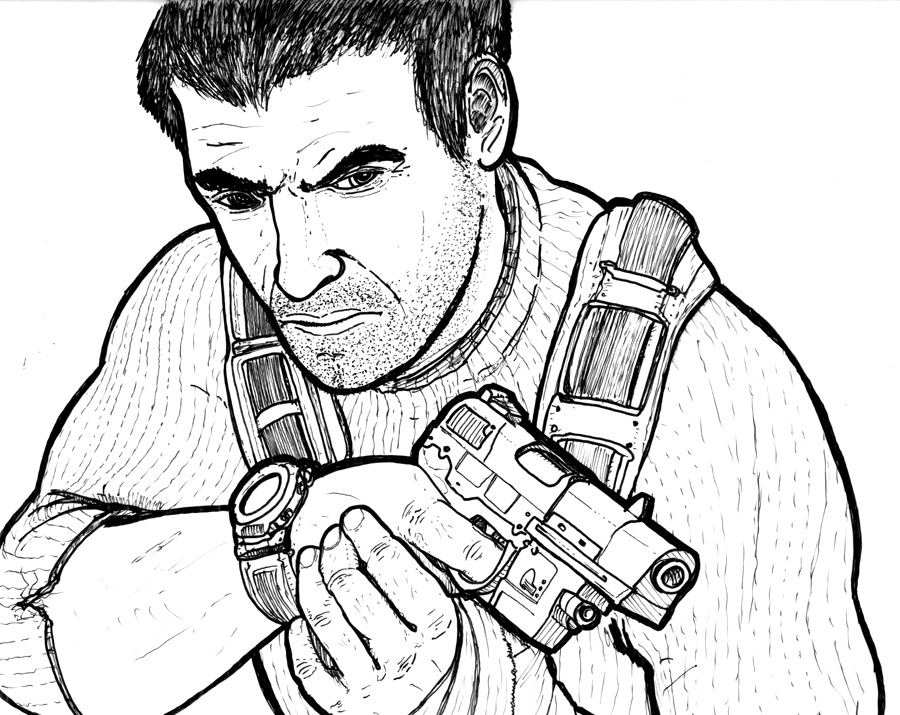 Line art of Sam Fisher from Splinter Cell. Did this for Ubisoft a number of years back.