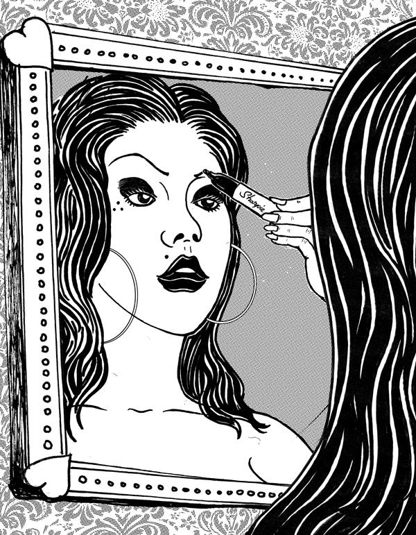 """Sharpie Girl"" art print. Illustrated by Bob Motown."