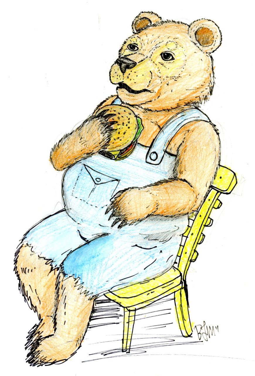 Burger Bear Bites Big!   Concept sketch for a restaurant menu illustration I did back in 2010.