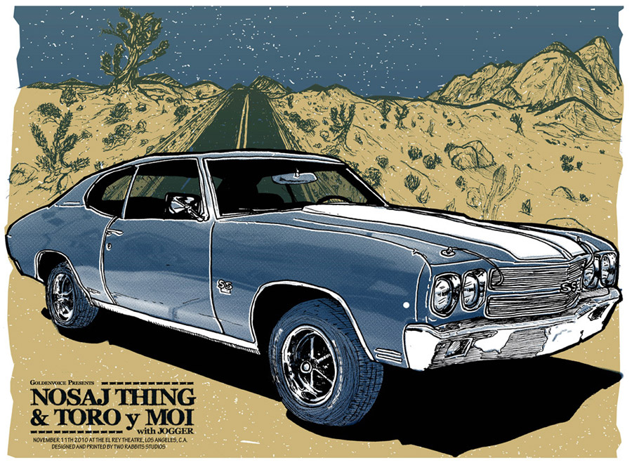 """Nosaj Thing Poster/""""Faster"""" Movie Promo. Illustration by Bob Motown for Two Rabbits, 2010.   I did this illustration for an event promoting the move """"Faster"""" starring none other than The Rock (Dwayne Johnson)! Prints were screen printed live and given out at a private event in Los Angeles. I chose the 1970 Chevelle Super Sport as its the main vehicle in the film. Two Rabbits used the illustration for some Gig posters as well. 3 Color Screen Print on 18x24 cover stock. Art prints and gigposter are available  HERE !"""