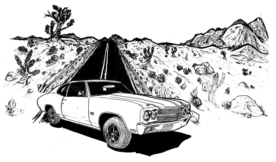 """I did this illustration for an event promoting the move """"Faster"""" starring none other than The Rock (Dwayne Johnson)! Prints were screen printed live and given out at a private event in Los Angeles. I chose the 1970 Chevelle Super Sport as its the main vehicle in the film. Two Rabbits used the illustration for some Gig posters as well. 3 Color Screen Print on 18x24 cover stock. Art prints and gigposter are available HERE !"""