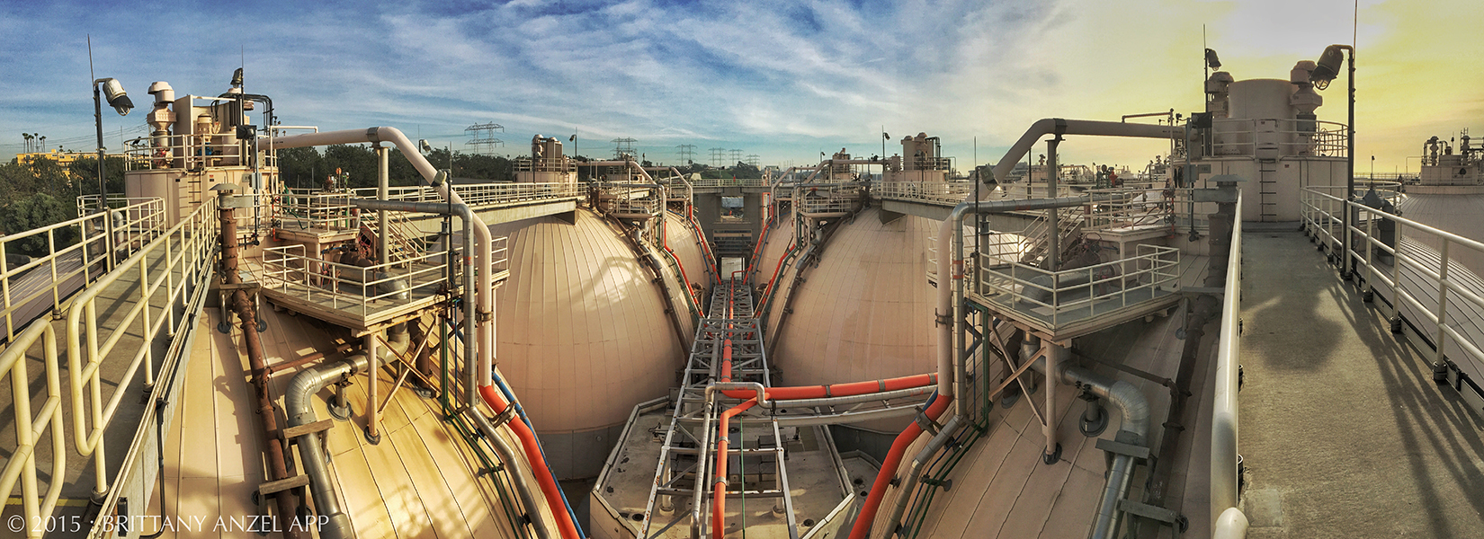 A view from atop the tanks at the Hyperion Wastewater Treatment Plant in Playa Del Rey, CA.  This plant is the largest (and the oldest) in the City of Los Angeles.