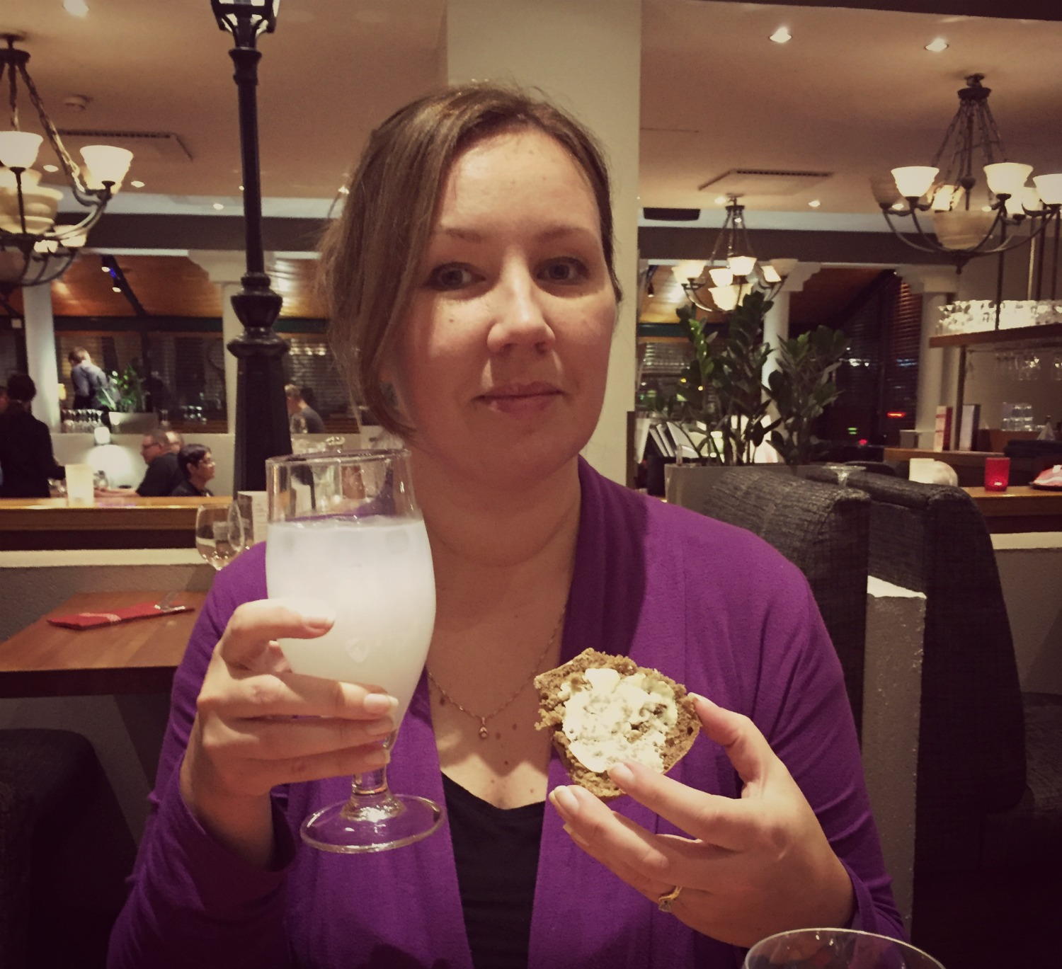 Gin Long Drink and Finnish style rye bread at the airport hotel