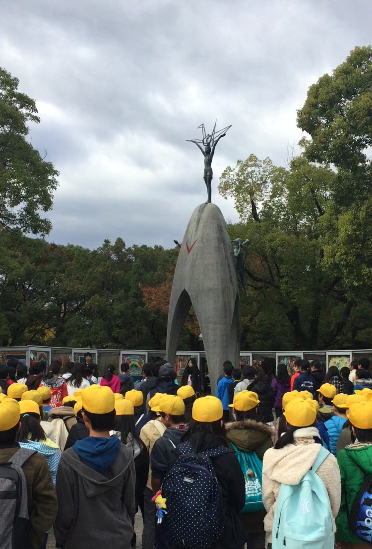 On the top of the Children's Peace Monument is a statue of Sadako Sasaki holding a giant paper crane.