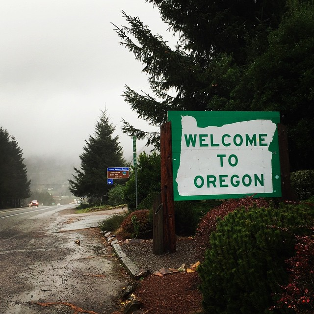 The Oregon border.