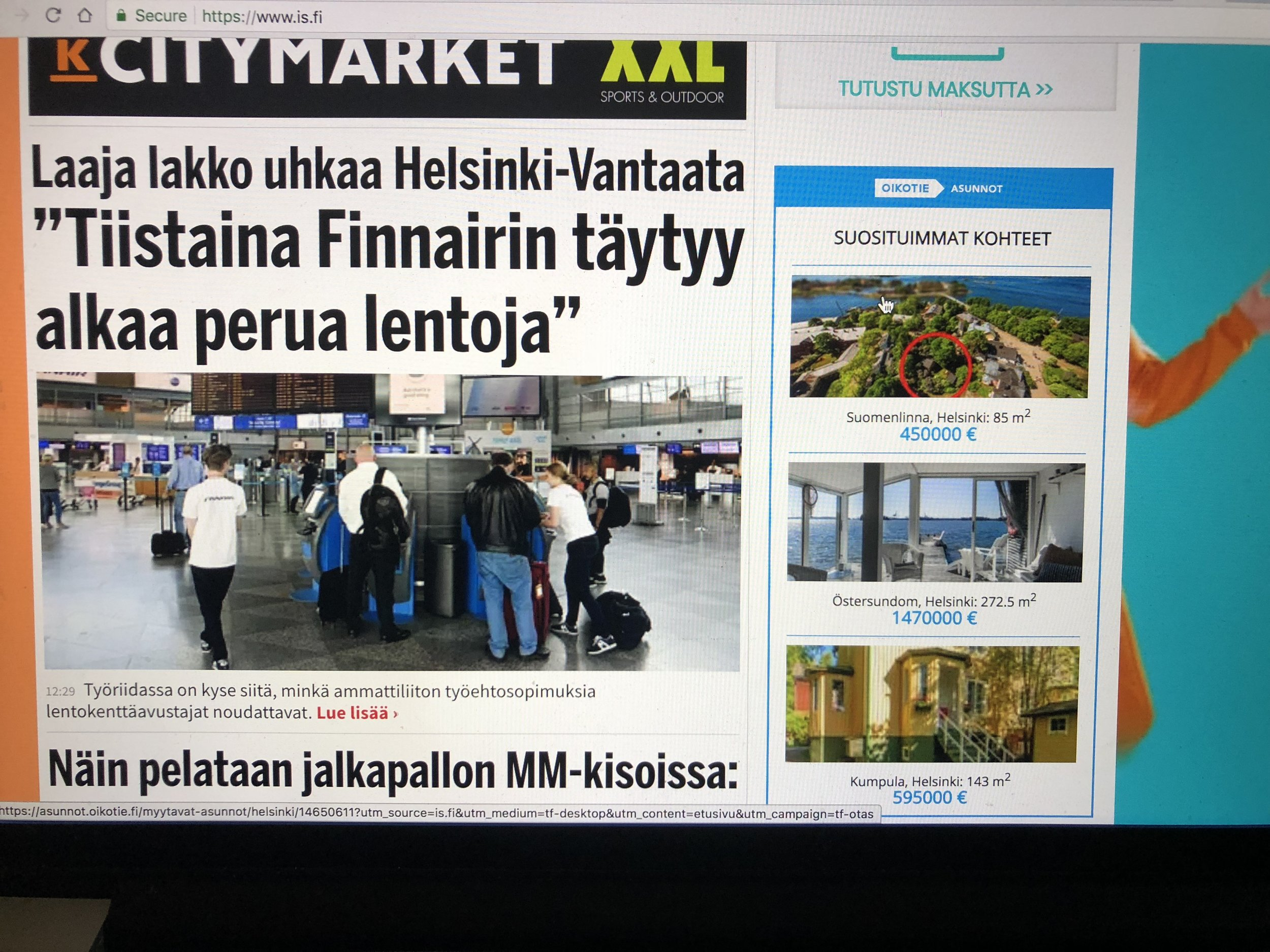 Finnish news article about Finnair's possible flight cancellations
