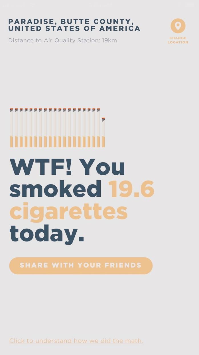 Nyt kun Piilaaksossa ollaan, niin täällä tietenkin on applikaatiota joka lähtöön. Tänään törmäsin sellaiseen kuin Sh**t! I smoke. Se kertoo ilmanlaadun sieltä missä olet, ja kuinka moneen tupakkaan ilman hengittäminen on verrattavissa. Oheinen mittaus on Camp Firen palo paikalla Paradisessa.