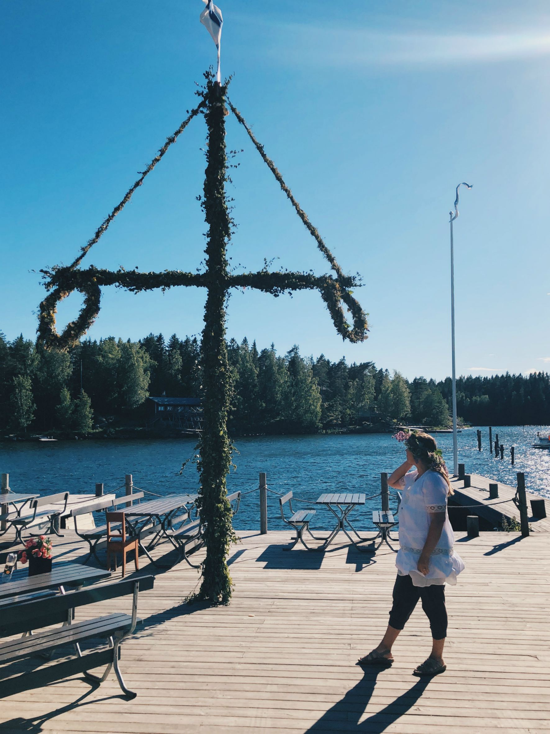 Here on the Swedish speaking coast you can always see some Swedish Midsummer poles.