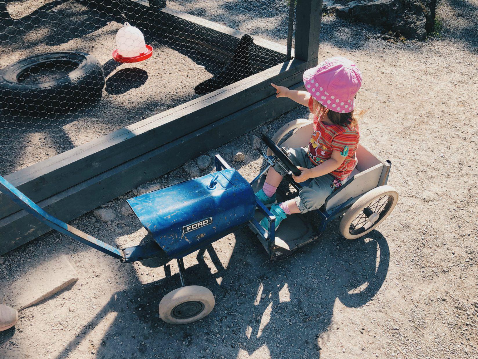 Toivosen eläinpuistossa voi rattaiden sijaan vetää lapsia vanhanajan käyrryissä