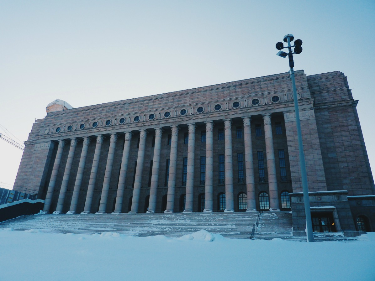 Our photo of the Parliament House was taken in the winter time when Helsinki is covered in snow.