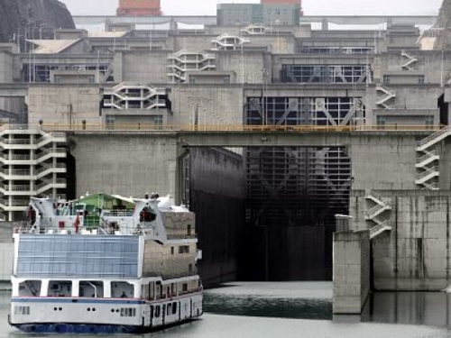 Ship entering the lock system for China's famous Three Gorges Dam, completed in 2003.