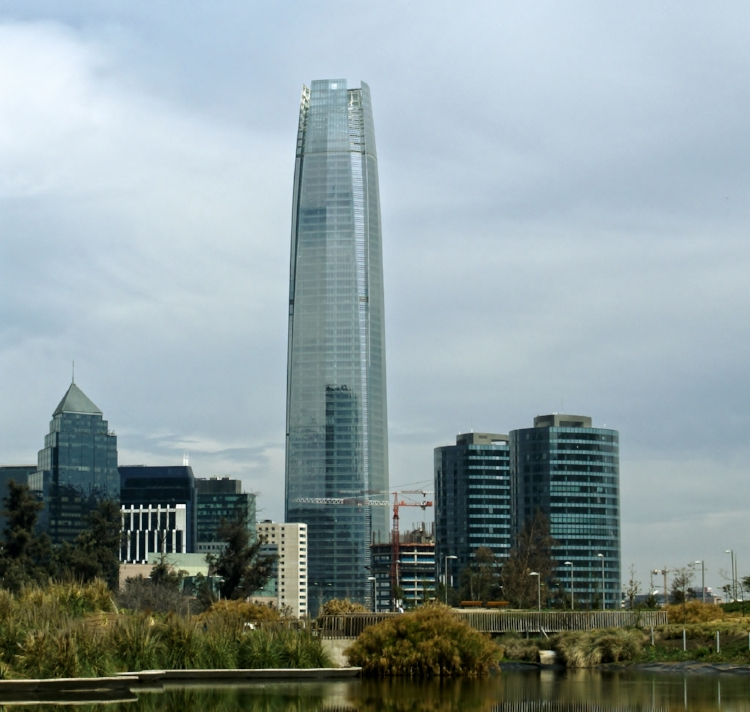 Gran Torre Santiago (Great Santiago Tower), the tallest tower in the financial center of Santiago, Chile.