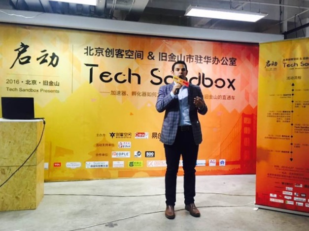 ChinaSF's North China Representative, Sam Dreiman, introducing the Tech Sandbox platform