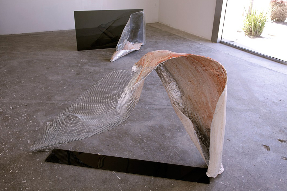 """UNTITLED"", plaster, watercolor, mesh and plexiglass,    2013"