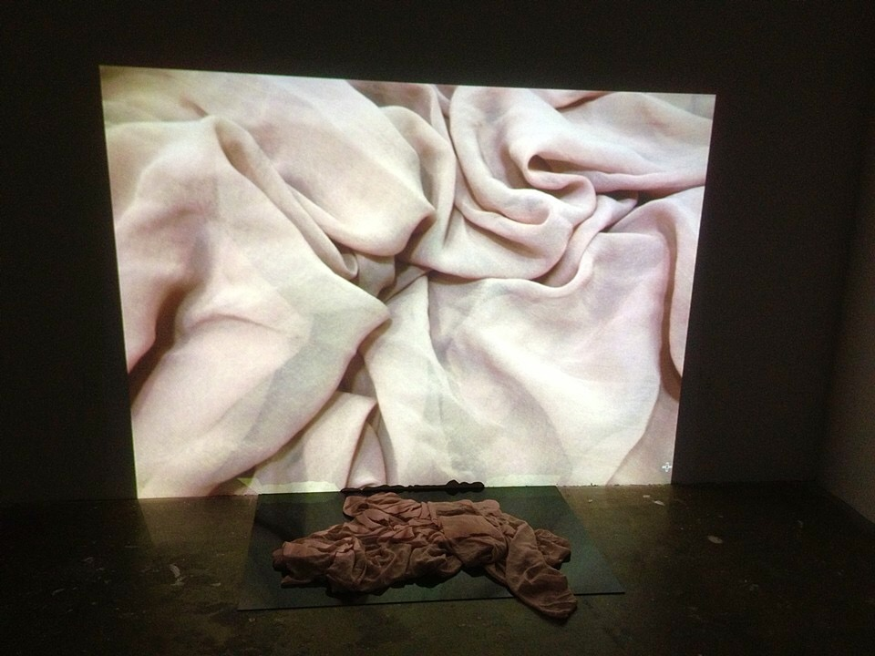 2010,  Untitled,  Fabric on plexiglass, projected image on wall