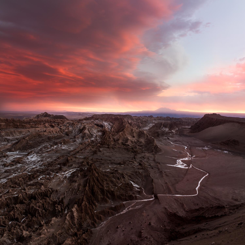 Epic sunset looking over the martian/lunar landscape of Valle de la Luna