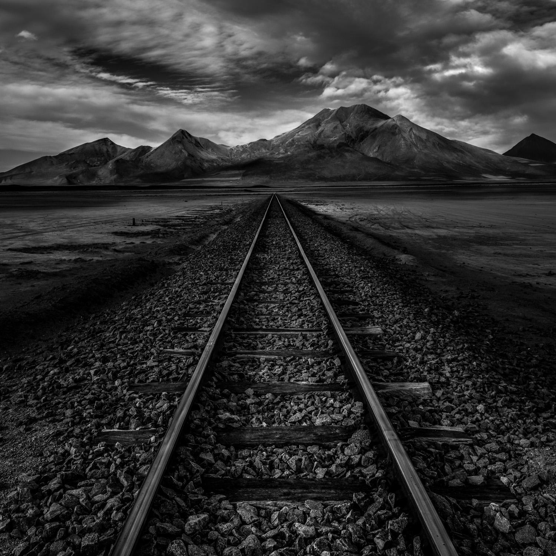 Tracks on the salt flats
