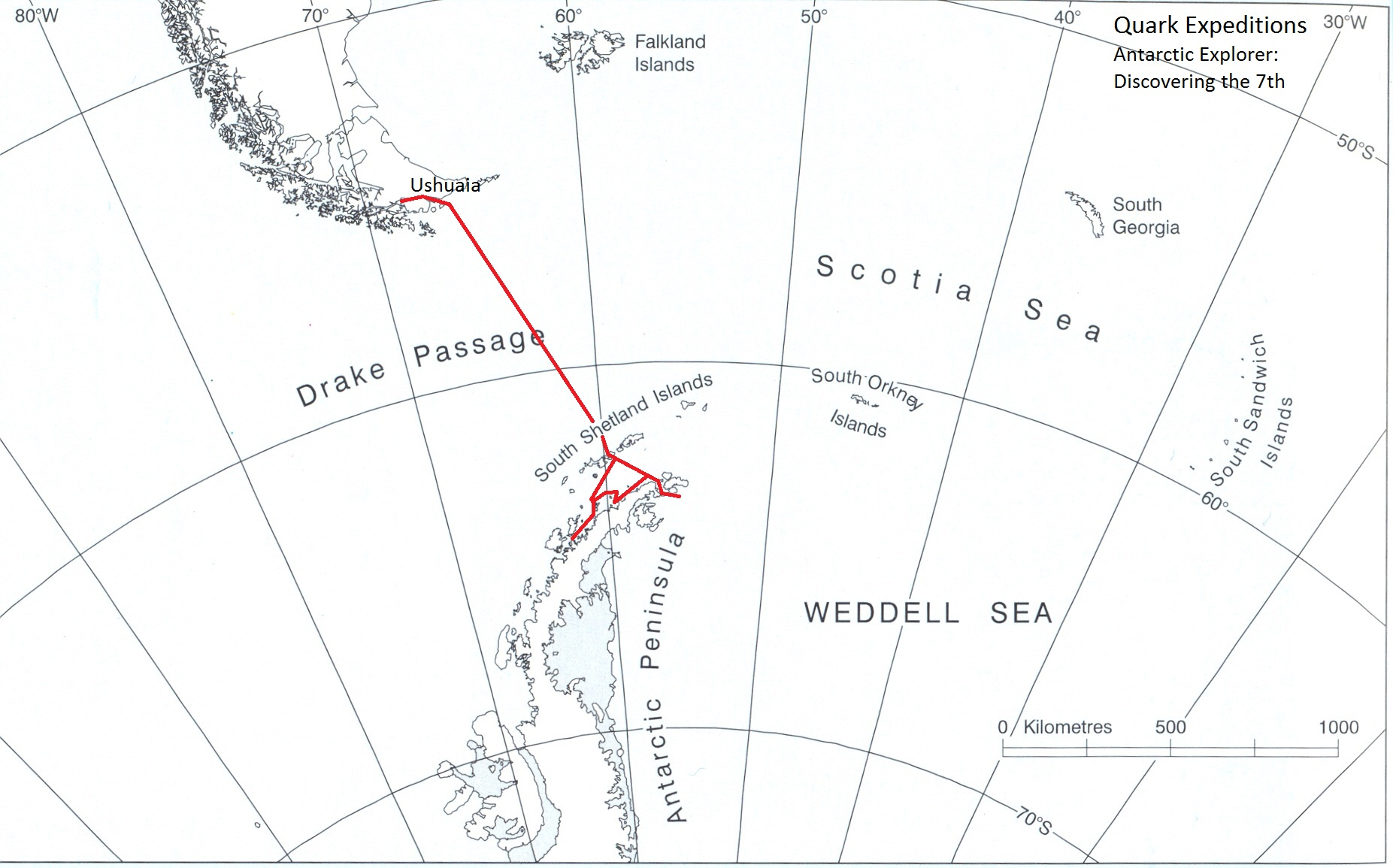 Our voyage map - courtesy of Quark Expeditions