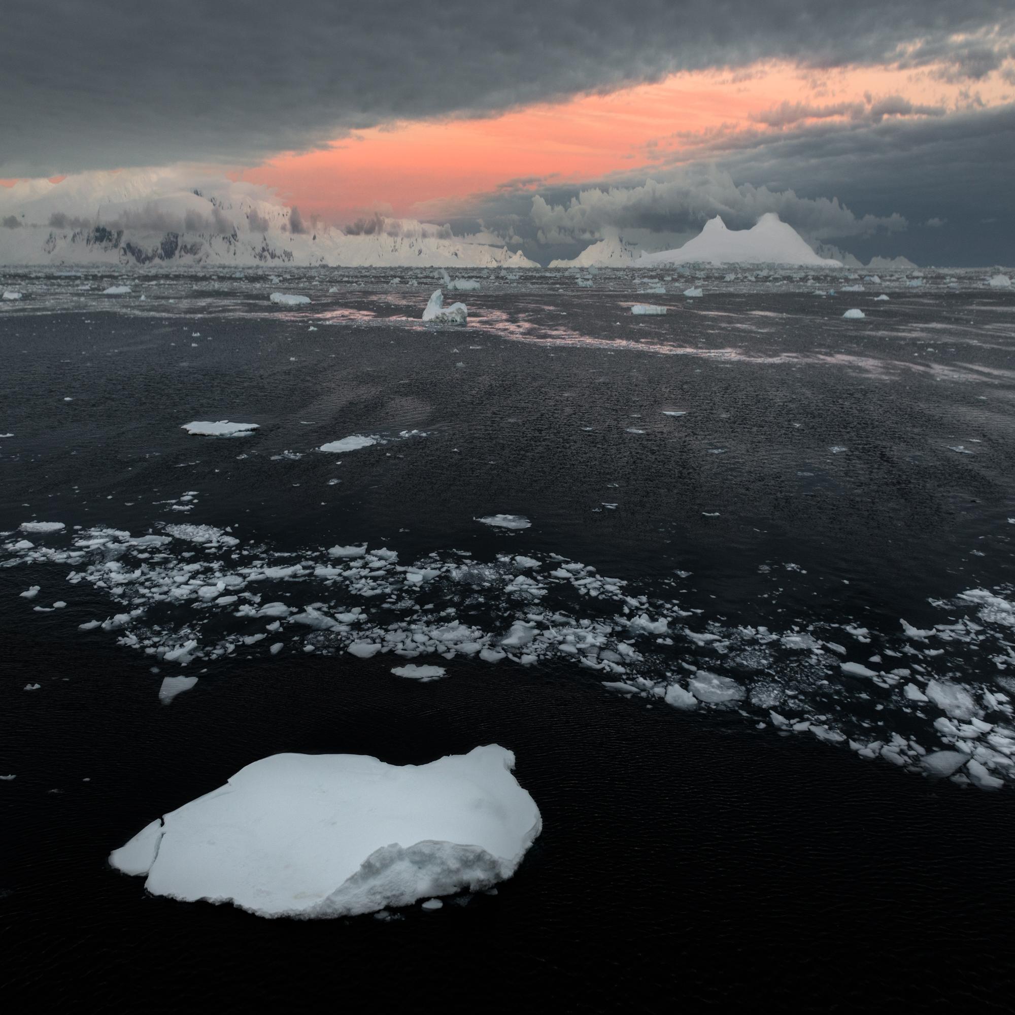 Brash ice at sunrise.