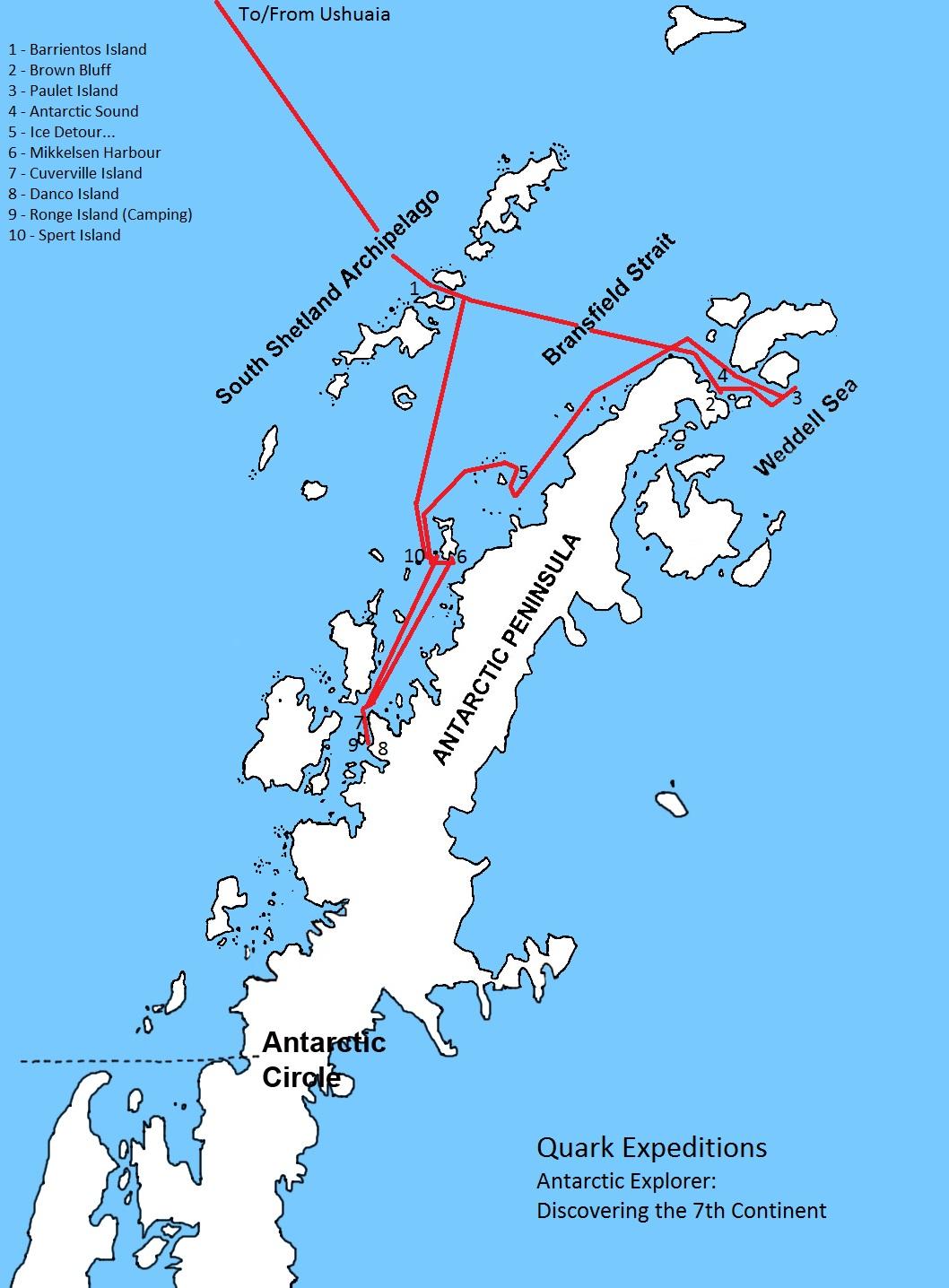 Peninsula details - courtesy of Quark Expeditions.