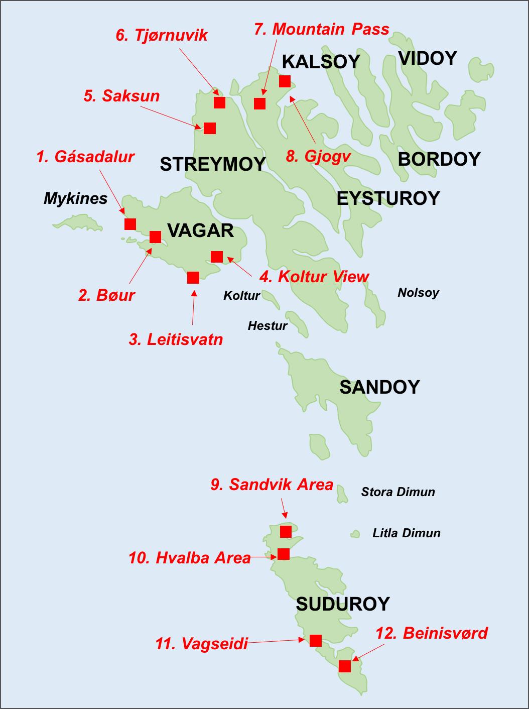 Faroe Islands Key Photo Locations