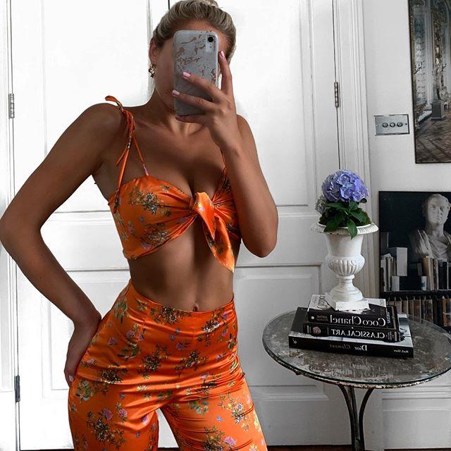 Yasmin set in tangerine • Direct message to order • £150 • ONE SIZE LEFT - UK 6-8 #phoeberoselondon