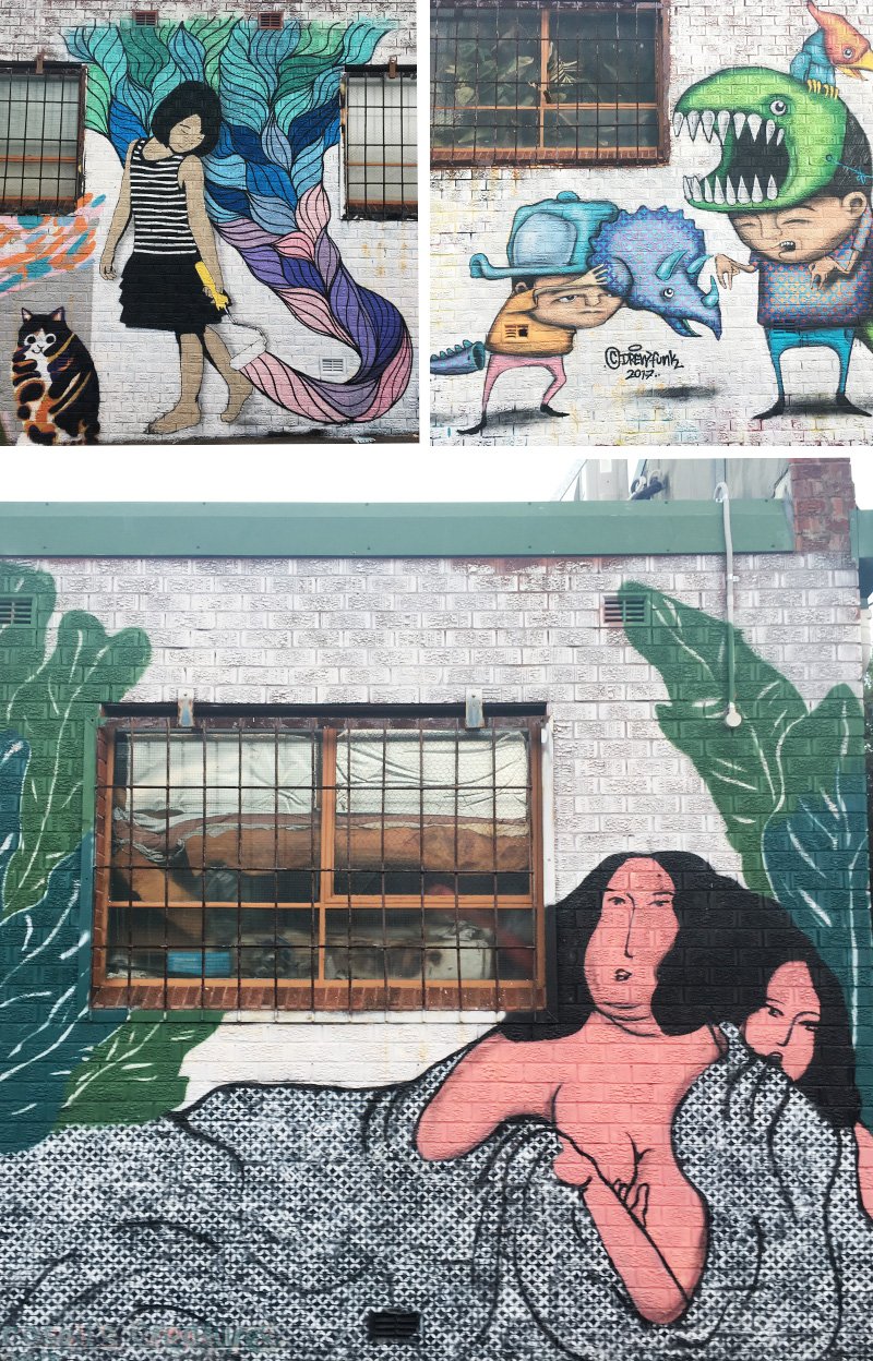 I'm not sure how long these wonderful street art has been around in Marrickville but I stumbled upon them on my way to the Henson Park in Marrickville over the long weekend. The collage of the two ladies reminds me of the Japanese Ukiyo-e art movement.